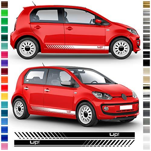 Auto-Dress® Seiten-Streifen Aufkleber Set/Dekor passend für VW Up in Wunschfarbe (070M Schwarz-Matt)