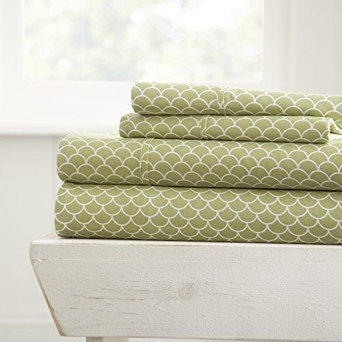 Linen Market 4 Piece Sheet Set Patterned, Full, Scallop Sage
