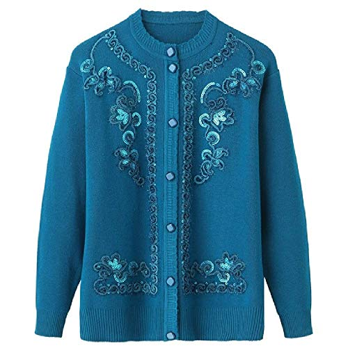 Jacket Knitted Sweaters Women Shirts Coat Fashion Cardigan Plus Size Knit Tops Loose Embroidery Sweater Blue