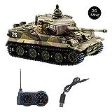 YouCute Mini RC Réservoir avec câble de Chargeur USB Télécommande Panzer Tank 1:72 Tigre Allemand avec Son Manuel français 35MHz(Kaki)