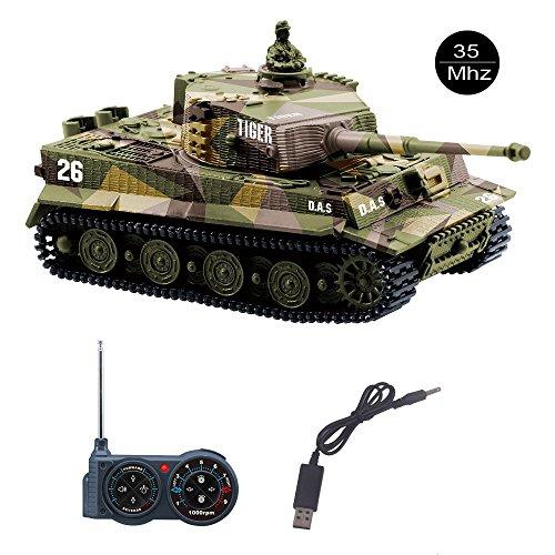 YouCute Mini RC Tank con Cable Cargador USB Control Remoto Tanque Panzer 1:72 German Tiger I con Sonido, torreta giratoria y acción de Retroceso Cuando manuale Italiano(Caqui)