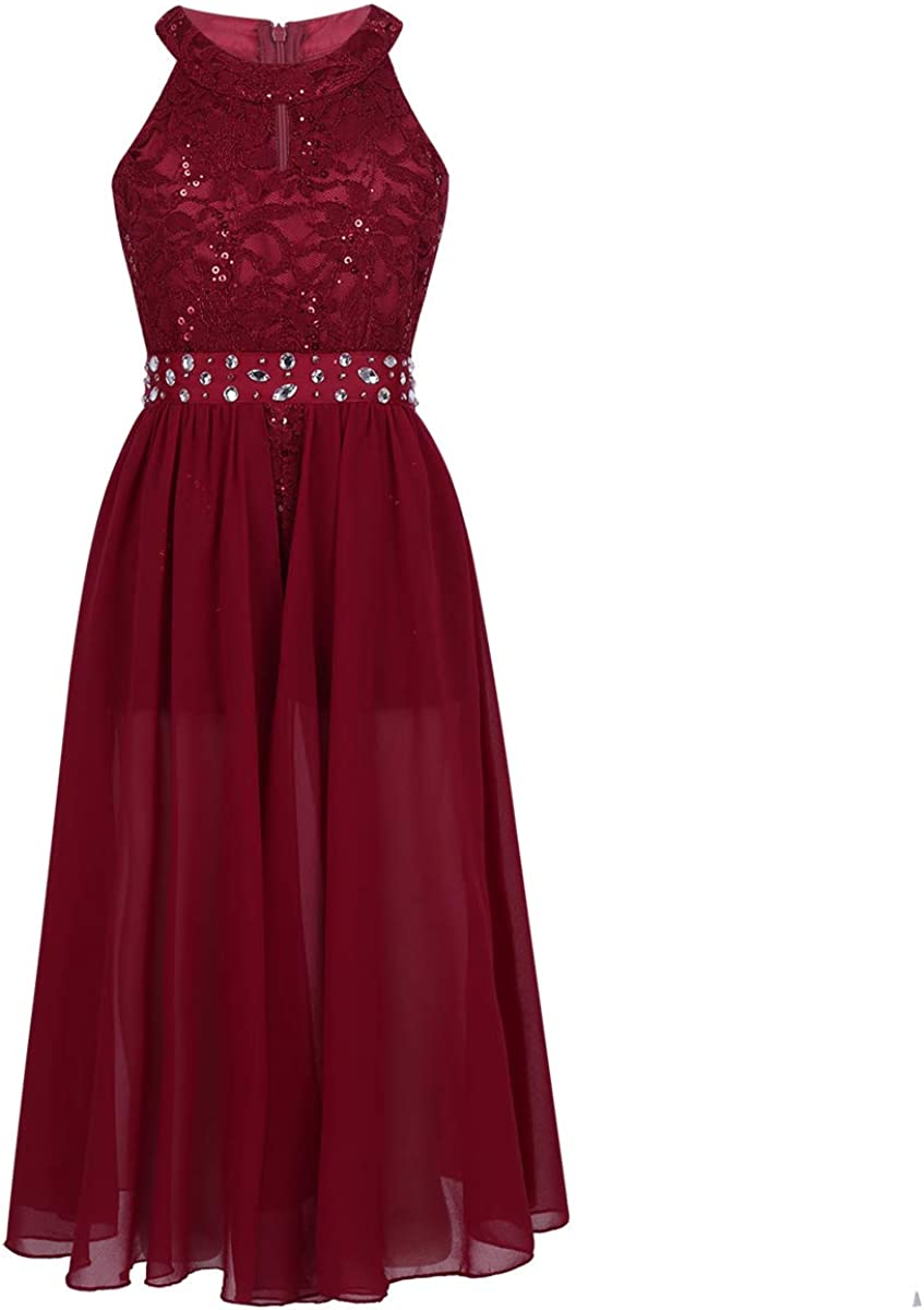 YUUMIN Kids Girls Sleeveless Floral Lace Rhinestone Maxi Romper Dress Pageant Wedding Party Dress