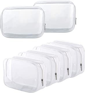 Clear Toiletry Carry Pouch with Zipper Portable PVC Waterproof Cosmetic Bag for Vacation Travel Bathroom and Organizing (6 Small)