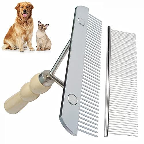 Rastrillo de perro para la capa inferior de dientes largos, cepillo de rastrillo+peine de acero inoxidable, juego de herramientas de aseo de rastrillo para perro grande, caballo y gato de pelo largo