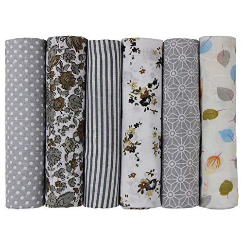 aufodara 6 Stueck 50 x 50cm Stoffpakete Patchwork Stoffe Baumwolle Tuch DIY Handgefertigte Nähen Quilten Stoff Baumwollgewebe Verschiedene Designs (Grau)