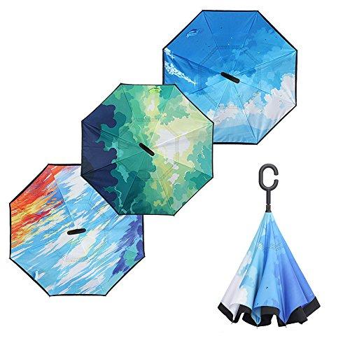 Lokep inversé Parapluie double couche coupe-vent Envers Parapluie pour voiture et utilisation en extérieur avec poignée en forme de C, Fly Away