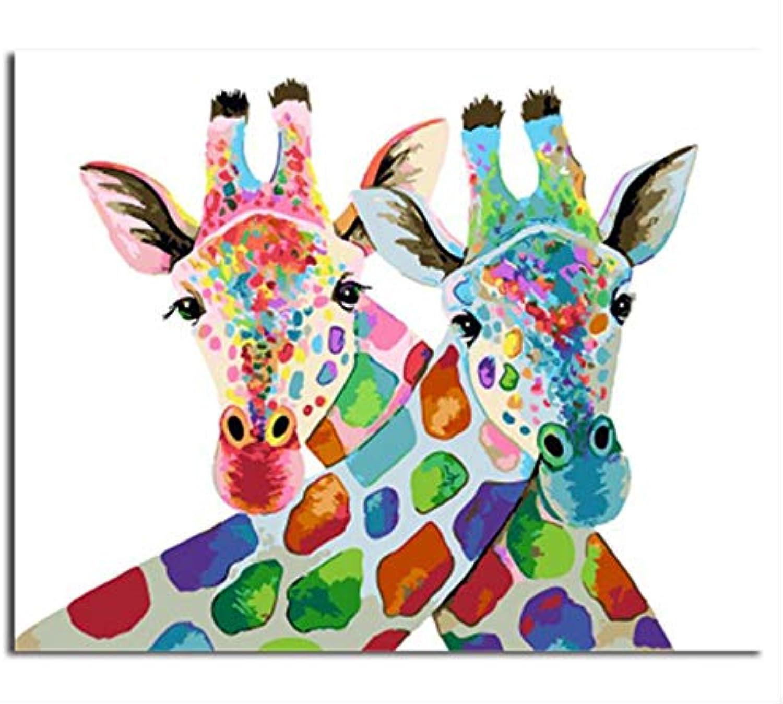 XIGZI Deer DIY Malerei Umrahmt Von Zahlen Malerei Und Kalligraphie Acryl Wandmalerei Dekoration Für Wohnzimmer 40X50 cm,Mit Holzrahmen,D B07P7NFX4D   Mode-Muster