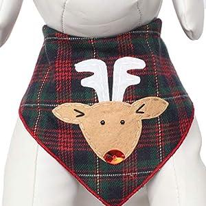 Tail Trends Christmas Dog Bandanas Rudolph Designer Appliques 100% Cotton