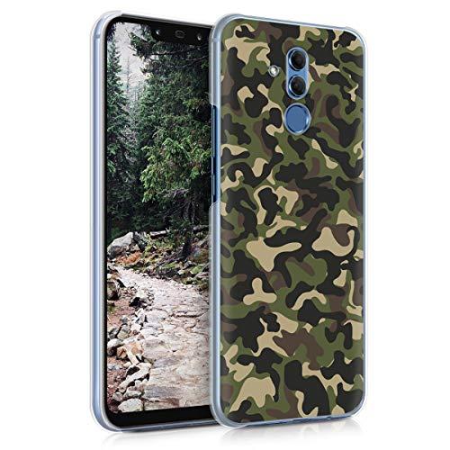 kwmobile Hülle kompatibel mit Huawei Mate 20 Lite - Handy Hülle Handyhülle - Backcover Hardcover Cover Schutzhülle - Camouflage Dunkelgrün Dunkelbraun Beige