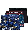 JACK & JONES JACFLOWER Trunks 3 Pack.Noos Boxers, Cereza Bardaboes-Azul Marino Negro, S para Hombre