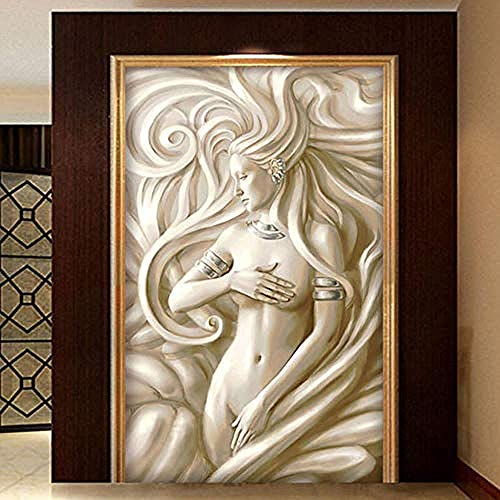 XHXI Custom Photo Beauty Sculpture European Style Living Room Hotel Hall Entrance Backdrop Wall Painting 3D Wallpaper Paste Living Room The Wall for Bedroom Mural border-430cm×300cm