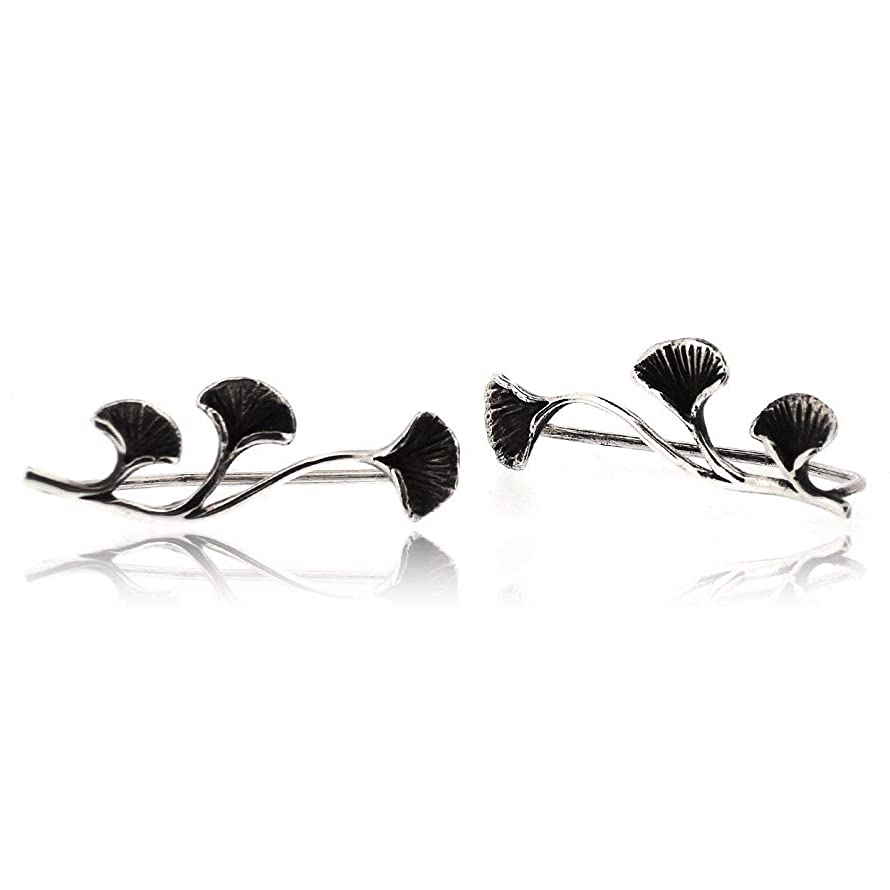 Sovats Ginkgo Climber Earrings For Women made with 925 sterling silver and oxidized surface - Simple, Stylish Stud Earrings&Trendy Nickel Free Earring