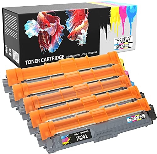 Prestige Cartridge 5 Tóners Compatibles Alta Capacidad con Brother TN-241, TN-245 Serie - UN Juego MÁS UNO Negro
