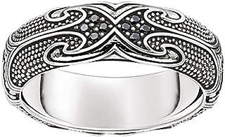THOMAS Sabo 中性款戒指 TR2100-643-11 环 Maori 925 纯银 黑锆 Pavé 黑色银色 黑色