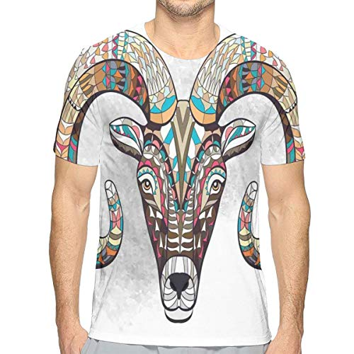 3D Printed T Shirts For Mens,Colorful Tribal Ornamented Head of Goat Figure African Totem Tattoo Inspired Design S
