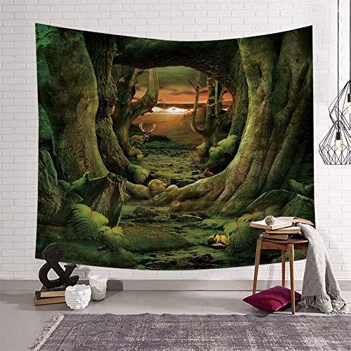 WERT Tela de Paisaje Pastoral, Tela de Fondo de decoración del hogar, Tapiz de Dibujos Animados, Tapiz de decoración de Tela para el hogar A6 130x150cm