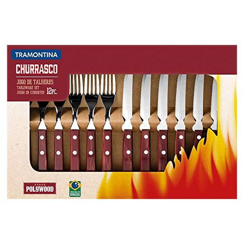 トラモンティーナ 木柄ステーキナイフ21cm&テーブルフォーク19cm ポリウッド 12本セット レッド 箱入り 食洗機対応 ブラジル製 21199/703 TRAMONTINA