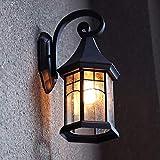 壁掛け照明 ブラケットライト レトロ風 玄関灯 ポーチライト 壁掛け照明 LED対応 E26 110V ウォールランプ アンティーク 北欧 おしゃれ 屋外 室内照明 1灯 ブラック