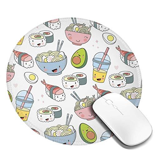 Mauspad Ramen Nudeln Sushi Avocado, 20cm Runde Gaming Mauspad Matte Reibungslos Weich Rutschfester Gummi Basis für Pc Laptop
