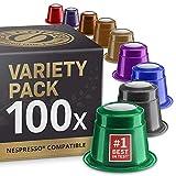 Mixed Variety Pack: 100 Nespresso Compatible Capsules. Organic/Fairtrade Nespresso Capsules. 9...