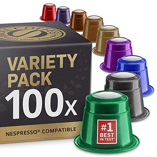Mixed Variety Pack: 100 Nespresso Compatible Capsules. Organic/Fairtrade Nespresso Capsules. 9 Different Varieties.