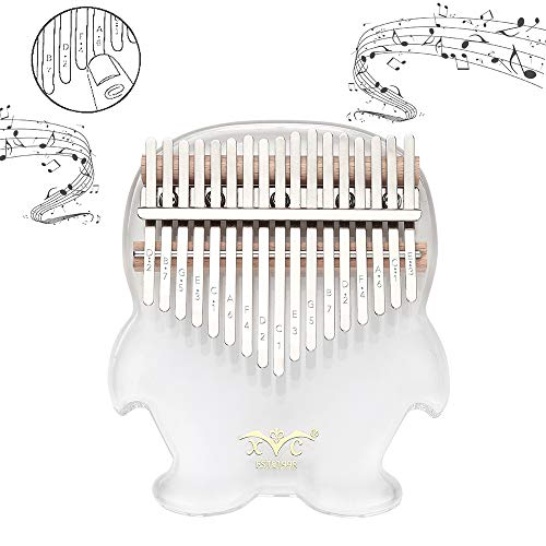 Eenten Portable Crystal Thumb Piano Bright Transparent 17 Key Finger Piano with Study Instruction,Tune Hammer Best Gifts for Adult Kids and Beginners,Free Eva Exclusive Piano Case