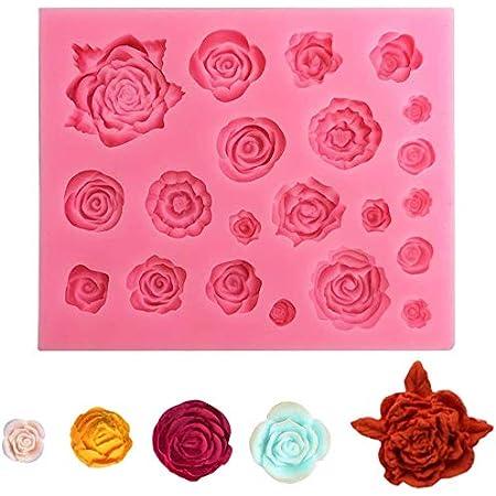 Lot de 1 moules en silicone en forme de rose et de feuille, pour chocolat, pâte à sucre, savon, décoration de gâteau, outil de pâtisserie