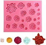 Stampo in silicone per fiori di rose - Stampo per mini fondente rosa 21 cavità, per decorazione di torte di canna da zucchero, cupcake topper