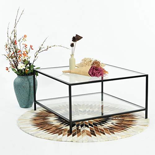 HOMYCASA Table basse moderne de salon, table avec plateau carré en verre trempé et cadre en métal noir et 1étagère