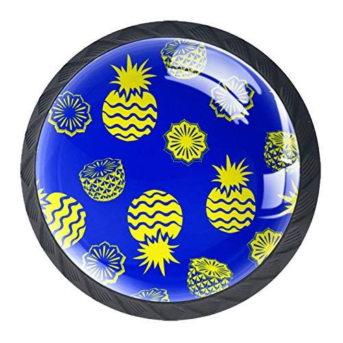 Juego de 4 pomos redondos para aparador, diseño floral colorido para cajón, decoración del hogar, color azul piña
