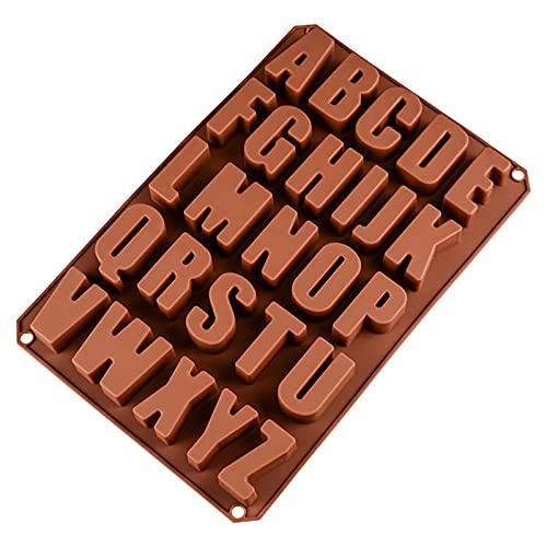 iFCOW 26 letras de cavidades molde de chocolate de gel de sílice moldes de caramelo A-Z grandes letras bandeja para hornear para todas las celebraciones fácil de limpiar