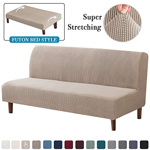 Funda de sofá elástica de jacquard de alta elasticidad, sin brazos, antideslizante, sin reposabrazos, funda elástica para sofá, Arena, Futon