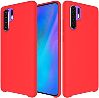 QFH Solid Color Liquid Silicone Shockproof Coverage Case For Huawei P30 Pro(Black) new style phone case (Color : Red)