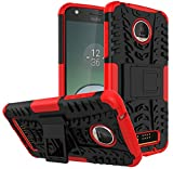 Moto Z Play Droid Case,Yiakeng Shockproof Impact Protection Tough Rugged Dual Layer Protective Case Cover with Kickstand for Motorola Moto Z Play Droid (Red)
