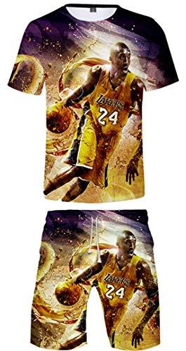 Silver Basic Conjuntos de Camiseta para Hombre Deportes Camiseta y Pantalones Cortos Conjuntos de Ropa de Baloncesto No. 24 Jersey para Fanáticos del Baloncesto M,Mamba-3