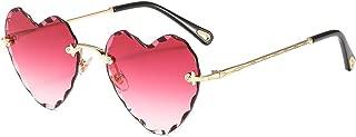 Heart Sunglasses Rimless Thin Metal Frame Heart Shaped Sun Glasses Cute Eyewear UV400 for Women