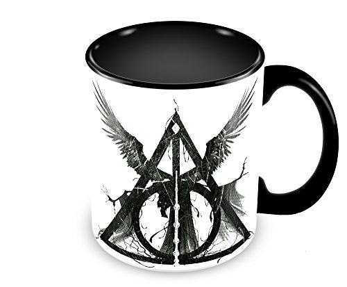 Caneca Personalizada Harry Potter e as Relíquias da Morte Preta 320 ml
