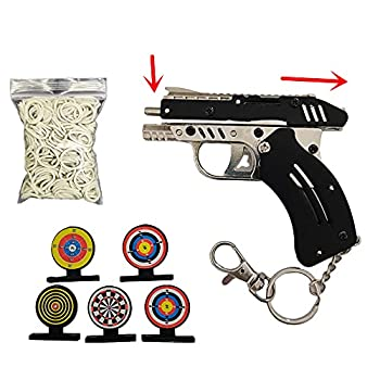 Okamsovr Upgrade Mini Metal Foldable Toy Rubber Band Gun Rubber Band Bullet Toy Pistol Keychain Adult and Child Automatic Filling Continuous Shooting Toy Gun Black