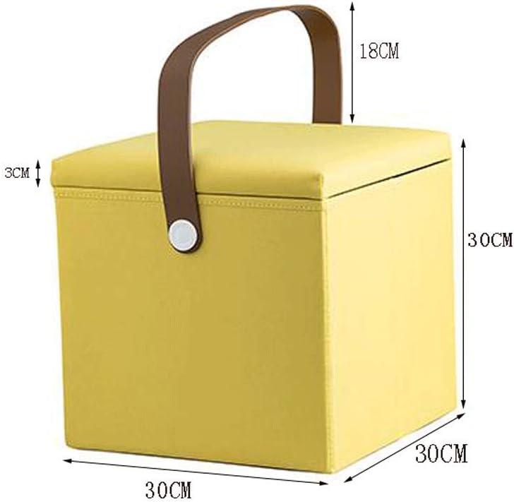 Pouf Salon Repose-pieds Tabouret De Rangement Pliable Can Sit Oxford Textile Maison Sofa Boîte De Rangement 30x30cm mwsoz (Couleur : Yellow) Gray