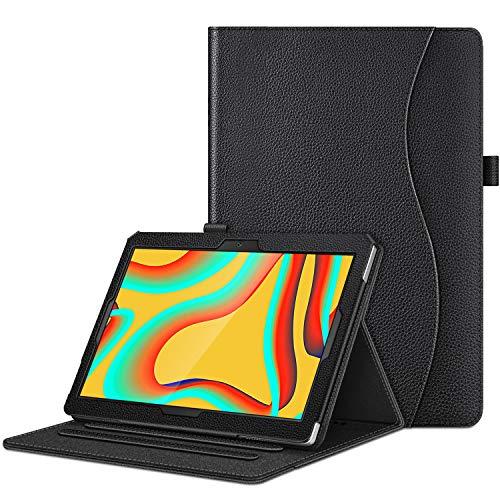 CASEBOT Hülle für Vankyo MatrixPad S30 - Multi-Winkel Flip Betrachtung Kunstleder Schutzhülle mit Dokumentschlitze für Vankyo MatrixPad S30 10,1 Zoll Tablet PC, Schwarz