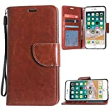 TecKraft Leather Wallet Case Multiple ID Slots Protective Flip Cover for Apple iPhone 7 Plus / 8 Plus (Amber Brown)