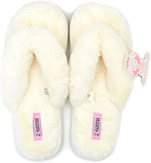 Women's Indoor Shoes Fashion Flax Home Lucy Refers to flip Flops Comfy Cozy Fur Slippers