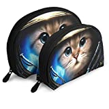 Portable Shell Makeup Storage Bags Cute Astronaut Cat Graphics Travel Waterproof Toiletry Organizer Clutch Pouch for Women