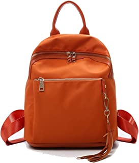 Happy-L Handbags Women's Bright Color Oxford Cloth Simple Casual Backpack Solid Color Waterproof Travel Backpack (Color : Orange, Size : 26 * 14 * 30cm)