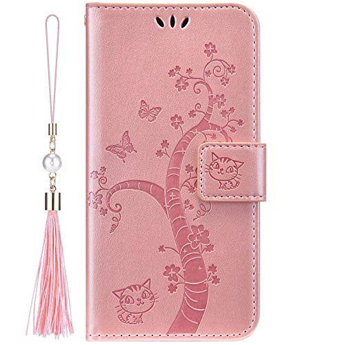 IKASEFU Compatible With iPhone 12 Pro Max 6.7 inch Case Soft Pu Leather Wallet Strap Case Card Slots Cute Cat Butterfly Flower Shockproof Magnetic Folio Flip Kickstand Protective Cover Rose gold