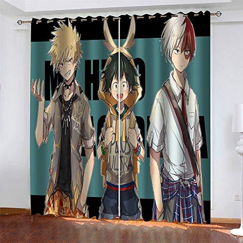 Meer 2er-Set Verdunkelungs Vorhang,Anime Junge Kinder Gardinen Ösen Gardine Thermo Polyester Schlafzimmer Vorhänge Dekoratives Muster Européen 160 x 140 cm (HxB)