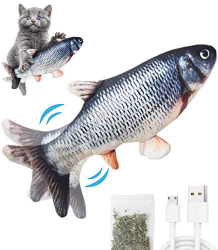 Pkeluozi Katzenspielzeug Elektrisch Fischs,interaktives zappelnder Fisch Spielzeug für Katzen USB Elektrische Plüsch Fisch Spielzeug Fisch mit Katzenminze für Katze zu Spielen,Beißen,Kauen und Treten