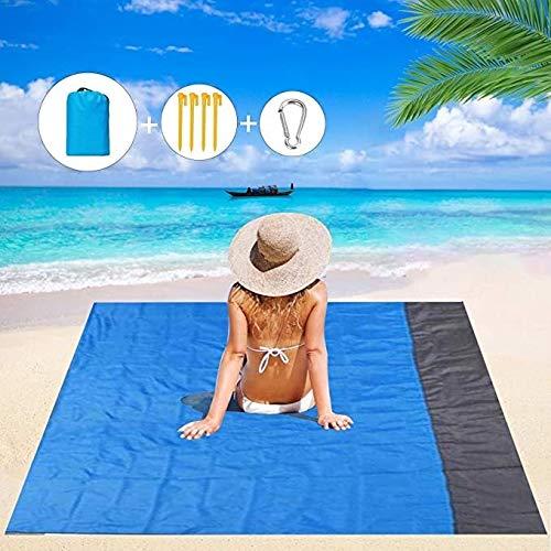 Beach Blanket, Picknick-Decke, Strand Picknick-Decke, Sand Free Beach Mat Wasserdicht 79 X 83Inch Faltbare Bewegliche Taschen Blanket Aufmaß Picknick-Decke Isomatte Mit Beweglichen Kasten-Beuteln Und