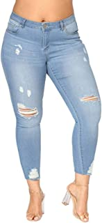 iYYVV Plus Size Womens Distressed Ripped Stretchy Slim Skinny High Waist Denim Jeans