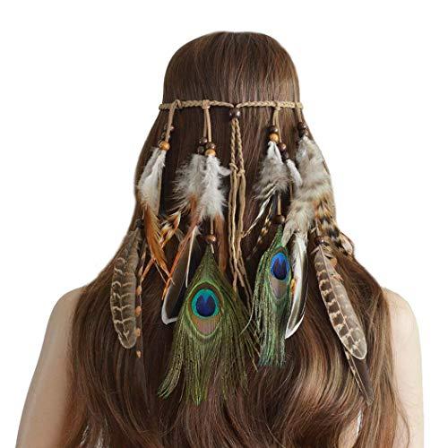 Diadema de plumas estilo bohemio Simsly, estilo hippie, hindú, de los años 1920, con plumas, accesorio para el pelo, accesorio de joyería para mujeres y niñas